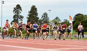 15 May 2019; Athletes competing in the U16 Boys Mile during the Irish Life Health Leinster Schools Track and Field Championships Day 1 at Morton Stadium in Santry, Dublin. Photo by Eóin Noonan/Sportsfile