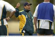 28 October 2003; Australian coach Eddie Jones makes a point to his players during squad training. 2003 Rugby World Cup, Australian squad training, Richmond Oval, Melbourne, Victoria, Australia. Picture credit; Brendan Moran / SPORTSFILE *EDI*