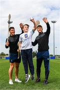 16 May 2019; In attendance during the Aldi Community Games Festival Launch are from left, Sean Finn of Limerick, Daragh Hogan, aged 11, from Limerick, and Tom Morrissey of Limerick at Maguires Field, University of Limerick in Limerick. Photo by Sam Barnes/Sportsfile