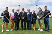 16 May 2019; In attendance during the Aldi Community Games Festival Launch are, from left, Sean Finn of Limerick, Hurdler Sarah Lavin, Dr Des Fitzgerald, University of Limerick President, Councillor James Collins, Mayor of Limerick, John Byrne, Community Games CEO, Rita Kirwan, Advertising Director, Aldi, former Munster rugby player Ronan O'Mahony and Tom Morrissey of Limerick, at Maguires Field, University of Limerick in Limerick. Photo by Sam Barnes/Sportsfile