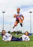 16 May 2019; In attendance during the Aldi Community Games Festival Launch is hurdler Sarah Lavin, with Shannon Sweeney, aged 12, left, and Olivia Flannery, aged 10, bothfrom Limerick, at Maguires Field, University of Limerick in Limerick. Photo by Sam Barnes/Sportsfile