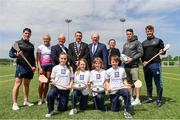16 May 2019; In attendance during the Aldi Community Games Festival Launch are backrow from left, Sean Finn of Limerick, Hurdler Sarah Lavin, Dr Des Fitzgerald, University of Limerick President, Councillor James Collins, Mayor of Limerick, John Byrne, Community Games CEO, Rita Kirwan, Advertising Director, Aldi, former Munster rugby player Ronan O'Mahony and Tom Morrissey of Limerick, with, front row from left, Shannon Sweeney, aged 12, Olivia Flannery, aged 10, Marcus Southern, aged 11 and Daragh Hogan, aged 11,  all from Limerick, at Maguires Field, University of Limerick in Limerick. Photo by Sam Barnes/Sportsfile