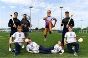 16 May 2019; In attendance during the Aldi Community Games Festival Launch are, from left, Sean Finn of Limerick, Marcus Southern, aged 11, former Munster rugby player, Ronan O'Mahony, Shannon Sweeny aged, 12, hurdler Sarah Lavin, Olivia Flannery, aged 10, Tom Morrissey  of Limerick and Daragh Horgan, aged 11, at Maguires Field, University of Limerick in Limerick. Photo by Sam Barnes/Sportsfile