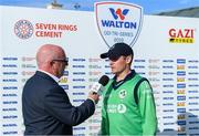 15 May 2019; Ireland captain William Porterfield is interviewed by John Kenny after the One Day International match between Ireland and Bangladesh at Clontarf Cricket Club, Clontarf in Dublin. Photo by Piaras Ó Mídheach/Sportsfile