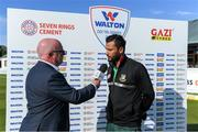 15 May 2019; Bangladesh captain Mashrafee bin murtoza is interviewed by John Kenny after the One Day International match between Ireland and Bangladesh at Clontarf Cricket Club, Clontarf in Dublin. Photo by Piaras Ó Mídheach/Sportsfile