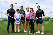 16 May 2019; In attendance during the Aldi Community Games Festival Launch are, from left, Tom Morrissey of Limerick, Eoin Barrett, aged 11, former Munster rugby player Ronan O'Mahony, hurdler Sarah Lavin, Cara Barrett, aged 14, and Sean Finn of Limerick, after presenting them with Community Games Commemorative medals at Maguires Field, University of Limerick in Limerick. Photo by Sam Barnes/Sportsfile