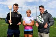 16 May 2019; In attendance during the Aldi Community Games Festival Launch are from left, Tom Morrissey of Limerick, hurdler Sarah Lavin, and former Munster rugby player Ronan O'Mahony at Maguires Field, University of Limerick in Limerick. Photo by Sam Barnes/Sportsfile