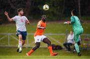 16 May 2019; Brian Brobbey of Netherlands in action against goalkeeper Ivan Martínez and Joseda of Spain during the 2019 UEFA European Under-17 Championships semi-final match between Netherlands and Spain at the UCD Bowl in Dublin. Photo by Stephen McCarthy/Sportsfile