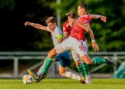 13 May 2019; Germán Valera Karabinaite of Spain in action against András Németh of Hungary during the 2019 UEFA European Under-17 Championships Quarter-Final match between Hungary and Spain at UCD Bowl in Dublin. Photo by Ben McShane/Sportsfile