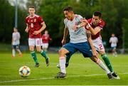 13 May 2019; Yeremi Jesús Pino Santos of Spain in action against Gábor Buna of Hungary during the 2019 UEFA European Under-17 Championships Quarter-Final match between Hungary and Spain at UCD Bowl in Dublin. Photo by Ben McShane/Sportsfile