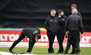 15 May 2019; During a pitch inspection are from left, Umpire Richard Kettleborough, Umpire Paul Reynolds, Reserve Umpire Mark Hawthorne, Match Referee Chris Broad and Groundsman Philip Frost, after rain stopped play during the One-Day International Tri-Series Final match between West Indies and Bangladesh at Malahide Cricket Ground, Malahide, Dublin. Photo by Sam Barnes/Sportsfile