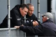 15 May 2019; Umpires Richard Kettleborough, left, and Paul Reynolds, centre, in conversation with Groundsman Philip Frost  after rain stopped play during the One-Day International Tri-Series Final match between West Indies and Bangladesh at Malahide Cricket Ground, Malahide, Dublin. Photo by Sam Barnes/Sportsfile
