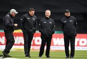 15 May 2019; Groundsman Philip Frost , far left, with, from left, Umpire Richard Kettleborough, Umpire Paul Reynolds and Reserve Umpire Mark Hawthorne during a pitch inspection after rain stopped play during the One-Day International Tri-Series Final match between West Indies and Bangladesh at Malahide Cricket Ground, Malahide, Dublin. Photo by Sam Barnes/Sportsfile