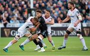 17 May 2019; Adam Hasting of Glasgow is tackled by Jordi Murphy, left, and John Cooney of Ulster during the Guinness PRO14 Semi-Final match between Glasgow Warriors and Ulster at Scotstoun Stadium in Glasgow, Scotland. Photo by Ross Parker/Sportsfile