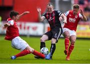 17 May 2019; Derek Pender of Bohemians in action against Conor Clifford, right, and Kevin Toner of St Patrick's Athletic during the SSE Airtricity League Premier Division match between St Patrick's Athletic and Bohemians  at Richmond Park in Dublin. Photo by Ben McShane/Sportsfile