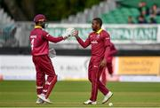 15 May 2019; Fabian Allen of West Indies, right, celebrates with Shai Hope after taking a wicket during the One-Day International Tri-Series Final match between West Indies and Bangladesh at Malahide Cricket Ground, Malahide, Dublin. Photo by Sam Barnes/Sportsfile