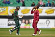 15 May 2019; Fabian Allen of West Indies celebrates taking a wicket during the One-Day International Tri-Series Final match between West Indies and Bangladesh at Malahide Cricket Ground, Malahide, Dublin. Photo by Sam Barnes/Sportsfile