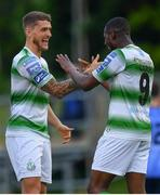 17 May 2019; Daniel Carr of Shamrock Rovers celebrates with Lee Grace, left, after scoring his side's first goal of the game during the SSE Airtricity League Premier Division match between UCD and Shamrock Rovers at UCD Bowl in Dublin. Photo by Ramsey Cardy/Sportsfile
