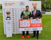 15 May 2019; Soumya Sarkar of Bangladesh is presented with the Seven Rings Cement Foundation of the Match award by Warren Deutrom, CEO of Cricket Ireland, during the One-Day International Tri-Series Final match between West Indies and Bangladesh at Malahide Cricket Ground, Malahide, Dublin. Photo by Sam Barnes/Sportsfile