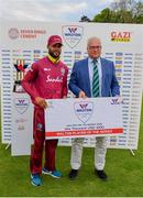 15 May 2019; Shai Hope of West Indies is presented with the Walton Player of the Series Award by Ross McCollum, Chairman, Cricket Ireland, following the One-Day International Tri-Series Final match between West Indies and Bangladesh at Malahide Cricket Ground, Malahide, Dublin. Photo by Sam Barnes/Sportsfile