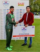 15 May 2019; Mosaddek Hossain of Bangladesh is presented with the Walton Player of the Match Award by Moinul Haque Chowdury, CEO, Total Sports Marketing, following the One-Day International Tri-Series Final match between West Indies and Bangladesh at Malahide Cricket Ground, Malahide, Dublin. Photo by Sam Barnes/Sportsfile