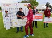 15 May 2019; Shai Hope of West Indies is presented withThe Top Scorer of the Final award by Abu Ershad, President of ShopNShipbd,    following the One-Day International Tri-Series Final match between West Indies and Bangladesh at Malahide Cricket Ground, Malahide, Dublin. Photo by Sam Barnes/Sportsfile
