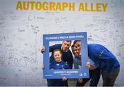 18 May 2019; Jennifer Malone from Clane, Co. Kildare poses for a photo in autograph alley with Rob Kearney, Adam Byrne and Conor O'Brien of Leinster at the Guinness PRO14 semi-final match between Leinster and Munster at the RDS Arena in Dublin. Photo by Harry Murphy/Sportsfile