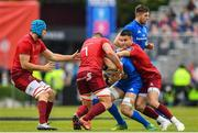18 May 2019; Josh van der Flier of Leinster is tackled by CJ Stander, left, and Conor Murray of Munster during the Guinness PRO14 semi-final match between Leinster and Munster at the RDS Arena in Dublin. Photo by Ramsey Cardy/Sportsfile