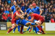 18 May 2019; Dave Kearney of Leinster is tackled by Arno Botha, left, and CJ Stander of Munster during the Guinness PRO14 semi-final match between Leinster and Munster at the RDS Arena in Dublin. Photo by Ramsey Cardy/Sportsfile