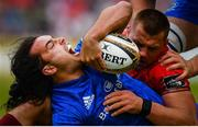18 May 2019; James Lowe of Leinster is tackled by CJ Stander of Munster during the Guinness PRO14 semi-final match between Leinster and Munster at the RDS Arena in Dublin. Photo by Ramsey Cardy/Sportsfile