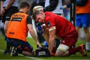 18 May 2019; Peter O'Mahony of Munster is treated for an injury during the Guinness PRO14 semi-final match between Leinster and Munster at the RDS Arena in Dublin. Photo by Ramsey Cardy/Sportsfile