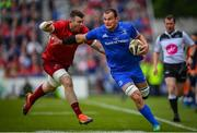 18 May 2019; Rhys Ruddock of Leinster is tackled by Peter O'Mahony of Munster during the Guinness PRO14 semi-final match between Leinster and Munster at the RDS Arena in Dublin. Photo by Ramsey Cardy/Sportsfile