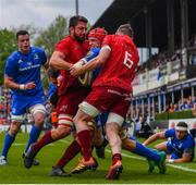 18 May 2019; Josh van der Flier of Leinster is tackled by Jean Kleyn, left, and Peter O'Mahony of Munster during the Guinness PRO14 semi-final match between Leinster and Munster at the RDS Arena in Dublin. Photo by Ramsey Cardy/Sportsfile