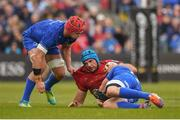 18 May 2019; Tadhg Beirne of Munster is tackled by Josh van der Flier, left and Robbie Henshaw of Leinster during the Guinness PRO14 semi-final match between Leinster and Munster at the RDS Arena in Dublin. Photo by Harry Murphy/Sportsfile