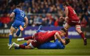 18 May 2019; Conor Murray of Munster and Ross Byrne of Leinster tussle off the ball during the Guinness PRO14 semi-final match between Leinster and Munster at the RDS Arena in Dublin. Photo by Diarmuid Greene/Sportsfile