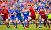18 May 2019; Luke McGrath of Leinster is tackled by Peter O'Mahony of Munster during the Guinness PRO14 semi-final match between Leinster and Munster at the RDS Arena in Dublin. Photo by Ramsey Cardy/Sportsfile