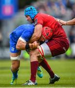 18 May 2019; Josh van der Flier of Leinster is tackled by Tadhg Beirne of Munster during the Guinness PRO14 semi-final match between Leinster and Munster at the RDS Arena in Dublin. Photo by Ramsey Cardy/Sportsfile