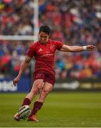 18 May 2019; Joey Carbery of Munster kicks a penalty during the Guinness PRO14 semi-final match between Leinster and Munster at the RDS Arena in Dublin. Photo by Diarmuid Greene/Sportsfile