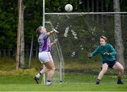 18 May 2019; Annie Walsh of AIB scores a goal against Kishoge Community College, Dublin, during the LGFA Interfirms Blitz 2019 at Naomh Mearnóg GAA Club, Portmarnock, Dublin. This year 12 teams competed for the top prize, while 11 teams signed up to take part in a recreational blitz. Photo by Piaras Ó Mídheach/Sportsfile