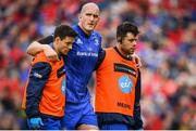 18 May 2019; Devin Toner of Leinster leaves the pitch with an injury during the Guinness PRO14 semi-final match between Leinster and Munster at the RDS Arena in Dublin. Photo by Ramsey Cardy/Sportsfile