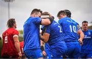 18 May 2019; Seán Cronin of Leinster celebrates with team-mate Cian Healy, left, after scoring his side's first try during the Guinness PRO14 semi-final match between Leinster and Munster at the RDS Arena in Dublin. Photo by Ramsey Cardy/Sportsfile