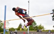 18 May 2019; Alamin Bankole of Balbriggan CC, Co. Dublin, competing in the Inter Boys High Jump event during the Irish Life Health Leinster Schools Track and Field Championships Day 2 at Morton Stadium in Santry, Dublin. Photo by Ben McShane/Sportsfile