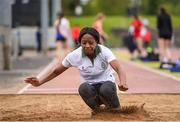 18 May 2019; Assebian Avouka of St Columba's College, Co. Dublin competing in the Senior Girls High Jump event during the Irish Life Health Leinster Schools Track and Field Championships Day 2 at Morton Stadium in Santry, Dublin. Photo by Ben McShane/Sportsfile