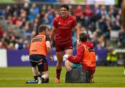 18 May 2019; Joey Carbery of Munster receives medical attention during the Guinness PRO14 semi-final match between Leinster and Munster at the RDS Arena in Dublin. Photo by Diarmuid Greene/Sportsfile