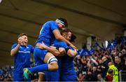 18 May 2019; James Lowe of Leinster celebrates after scoring his side's second try with team-mates during the Guinness PRO14 semi-final match between Leinster and Munster at the RDS Arena in Dublin. Photo by Harry Murphy/Sportsfile