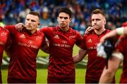 18 May 2019; Andrew Conway, Joey Carbery, and Rory Scannell of Munster after the Guinness PRO14 semi-final match between Leinster and Munster at the RDS Arena in Dublin. Photo by Diarmuid Greene/Sportsfile