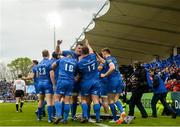 18 May 2019; Leinster players celebrate their side's second try during the Guinness PRO14 semi-final match between Leinster and Munster at the RDS Arena in Dublin. Photo by Harry Murphy/Sportsfile