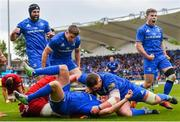 18 May 2019; Leinster players celebrate a try by Seán Cronin, 2, during the Guinness PRO14 semi-final match between Leinster and Munster at the RDS Arena in Dublin. Photo by Ramsey Cardy/Sportsfile