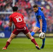 18 May 2019; Ross Byrne of Leinster in action against Joey Carbery of Munster during the Guinness PRO14 semi-final match between Leinster and Munster at the RDS Arena in Dublin. Photo by Ramsey Cardy/Sportsfile