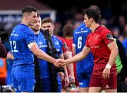 18 May 2019; Jonathan Sexton of Leinster shakes hands with Joey Carbery of Munster following the Guinness PRO14 semi-final match between Leinster and Munster at the RDS Arena in Dublin. Photo by Harry Murphy/Sportsfile